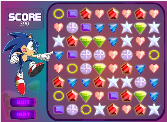 Играт в флеш игру Шарики Sonic X Emerald Grab бесплатно